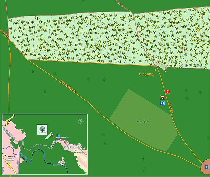 Waldfriedhof Erzgebirge - Friedhofskarte